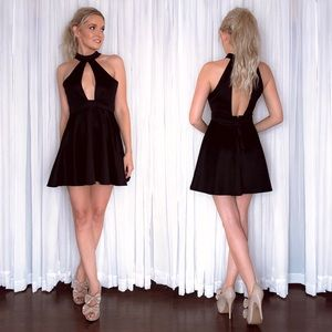Black Sexy Plunge Party Dress